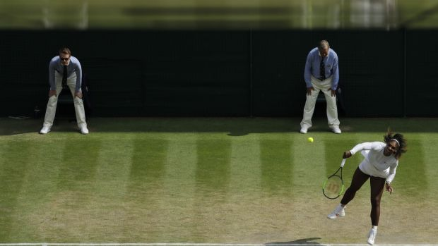 Williams serves during the semi-final. Photo: Ben Curtis/Getty Images