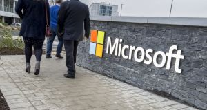 Microsoft's logo at its new €134m campus in south Dublin. Photograph: Brenda Fitzsimons