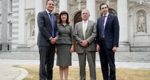 From left, Taoiseach Leo Varadkar with Laura Magahy, Dr Tom Keane and Minister for Health Simon Harris. Photograph: Maxwell Photography
