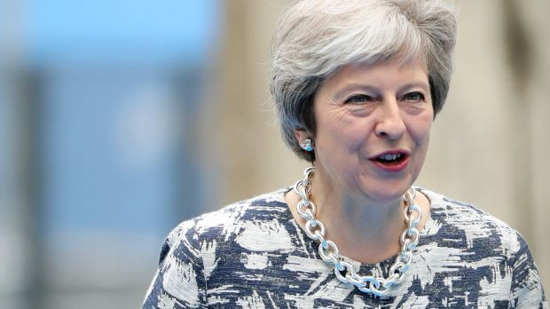 "Theresa May: ""They voted for us to take back control of our money, our law and our borders. That is exactly what we will do."" Photograph: Tatyana Zenkovich/Pool via Reuters"