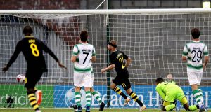 AIK's Daniel Sundgren scores the first goal of the game during their Europa League first round qualifier against Shamrock Rovers. Photo: Ryan Byrne/Inpho