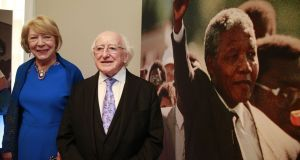 President Michael D Higgins officially opens the Nelson Mandela exhibition 'From Prisoner to President' at Kilmainham Gaol in Dublin. Photograph: Nick Bradshaw/The Irish Times.
