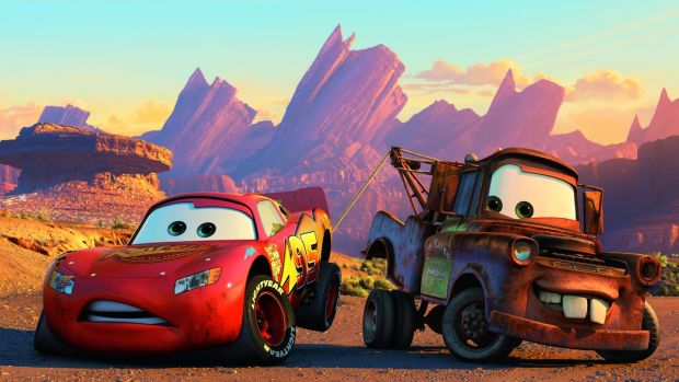 McQueen and Mater in Cars, the seventh animated feature by Pixar