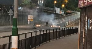 A fire was started at the bottom of the flyover in the Bogside area of Derry. Photograph: Aoife Moore/PA Wire
