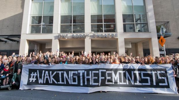A demonstration in front of the Abbey Theatre during the Waking The Feminists event to highlight the lack of gender equality in the Abbey's programme of events for 2016. Photograph: Brenda Fitzsimons/The Irish Times