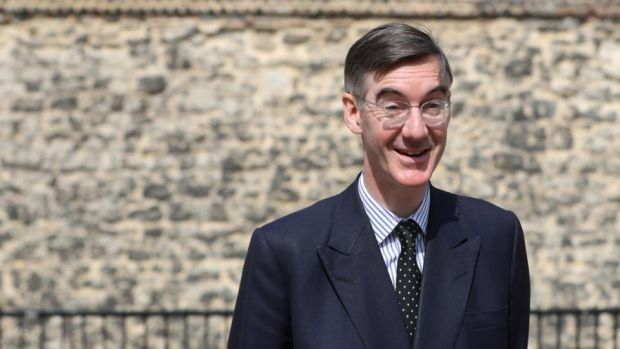 Brexiteer: the influential Conservative MP Jacob Rees-Mogg talks to the media after David Davis's resignation. Photograph: Simon Dawson/Reuters