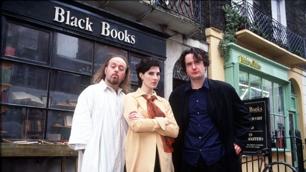 Bill Bailey, Tamsin Greig and Dylan Moran in Black Books: an extended love letter to booze.