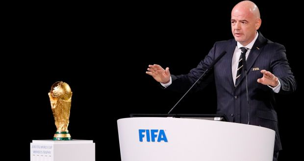 Fifa President Gianni Infantino With The World Cup Trophy Photograph Kevin C Cox