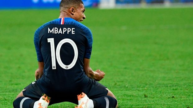 Mbappé celebrates at the end of the World Cup semi-final against Belgium. Photograph: Christophe Simon/AFP/Getty Images
