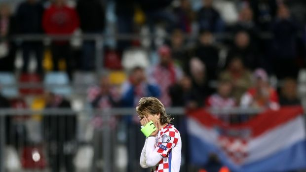 Luka Modric after Croatia's World Cup qualifier draw with Finland. Photograph: Stringer/AFP/Getty