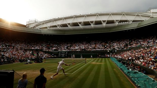 John Isner in action during his semi-final against South Africa's Kevin Anderson at Wimbledon. Photograph: Andrew Boyers/Reuters