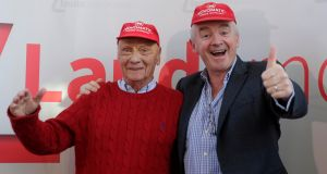 Niki Lauda and Ryanair chief executive Michael O'Leary in Vienna on March 28th to announce their plans for Laudamotion. Photograph: Photograph: Heinz-Peter Bader/Reuters