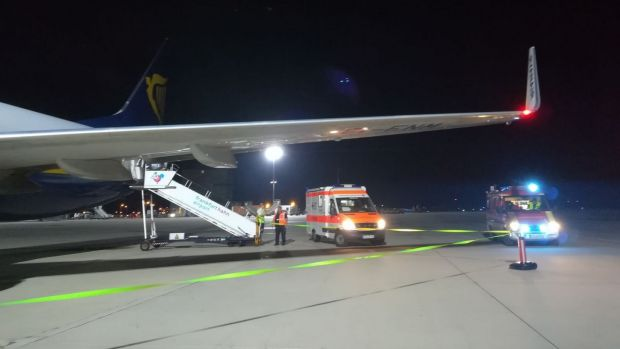 Conor Brennan suffered a severe build up of fluid behind his ears after the emergency landing of this plane at Frankfurt airport. Photograph: Conor Brennan