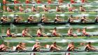 The rowing teams of Canada, Netherlands, New Zealand, Poland and China (bottom to top) in action during the men's eight at the rowing World Cup. Photograph:  Alexandra Wey/EPA