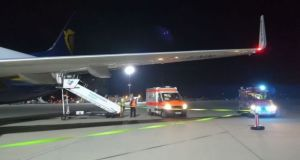 The scene at Frankfurt-Hahn Airport after a Ryanair plane made an emergency landing. Photograph: Conor Brennan