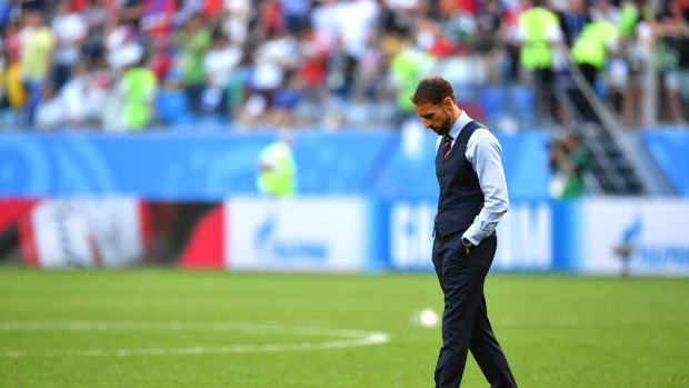 Gareth Southgate after England's defeat to Belgium in St Petersburg. Photograph: Dan Mullan/Getty