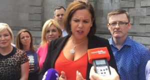 Mary Lou McDonald speaking to reporters after the part meeting on Saturday. Photograph: Jack Power