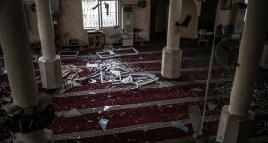 A view inside a  mosque allegedly damaged by Israeli air strikes, at central Gaza City. Photograph: Haitham Imad/EPA