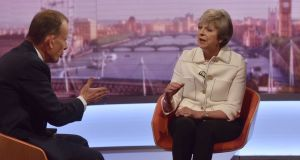 "Britain's prime minister Theresa May on the BBC's Andrew Marr Show: ""I am not going to Brussels to compromise our national interest."" Photograph: BBC handout via Reuters"