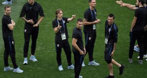 Croatia's players walk on the pitch at the Luzhniki Stadium in Moscow ahead of the World Cup final against France. Photograph:  Gabriel Bouys/AFP/Getty Images
