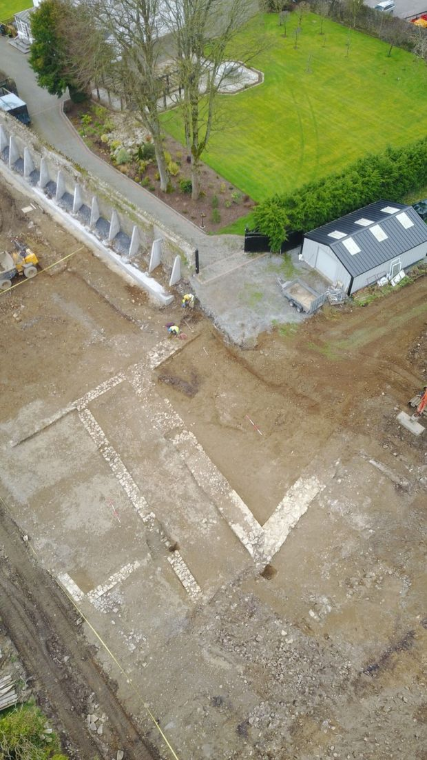Drone shot of the Castlecomer fort discovery (bottom of picture). Photograph: Dan Lenihan