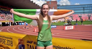 Sommer Lecky celebrating her  silver medal performance in the high jump at the World Under-20 Championships in Tampere, Finland.  Photograph: Cathal Dennehy/Twitter