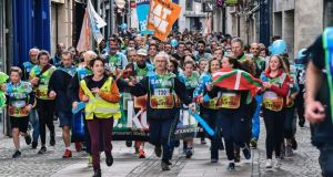 The Korrika race in Bayonne in southwest France is held annually to promote the Basque language Euskara. Alongside the Basque autonomous community, the northern Spanish region of Navarre and southern France also have substantial Basque-speaking populations. Photograph: Nicolas Mollo/AFP/Getty Images