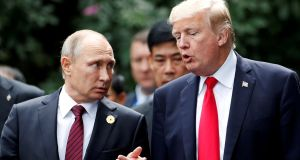 US president Donald Trump and Russia's President Vladimir Putin in 2017. Photograph: Jorge Silva/File Photo/Reuters