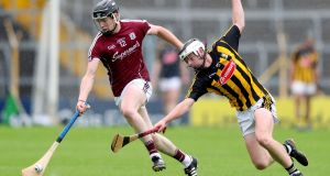 Galway's Oisín Flannery in action against  Jamie Harkin of Kilkenny during the   All-Ireland minor hurling  quarter-final round 2 game at  Semple Stadium. Photograph: Oisín Keniry/Inpho