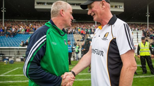 Limerick manager John Kiely shakes hands with Kilkenny manager Brian Cody after the game. Photograph: Oisin Keniry/Inpho