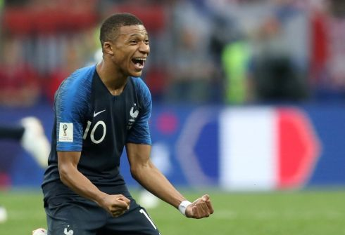 France's Kylian Mbappe celebrates winning the World Cup              REUTERS/Carl Recine