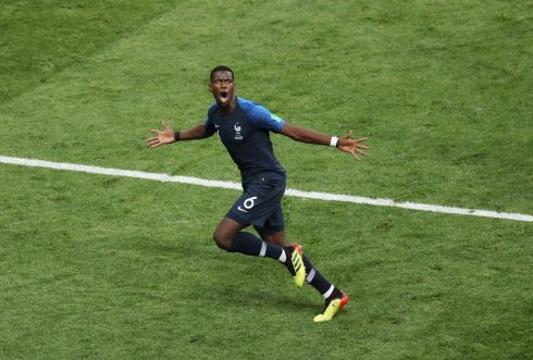Paul Pogba of France celebrates after scoring Frances third goal during the FIFA World Cup 2018 final between France and Croatia in Moscow,   EPA/ABEDIN TAHERKENAREH
