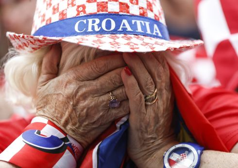 Fan of Croatia national football team reacts during the Final match on July  in Zagreb. This is the first time Croatia has reached the final of the Football World Cup. Photo by Srdjan Stevanovic/Getty Images