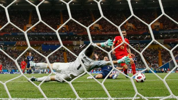Nacer Chadli scores Belgium's later winner against Japan. Photograph: Shawn Thew/EPA