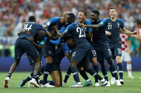 VIVE LA FRANCE: France players celebrate upon winning the World Cup 2018 final against Croatia with the final score 4-2, at Luzhniki Stadium, Moscow, Russia. Photograph: Darren Staples/Reuters