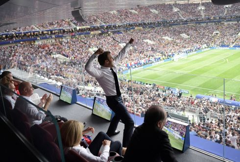 FRENCH CONNECTION: French president Emmanuel Macron is energised by the French World Cup final win over Croatia, as Russian President Vladimir Putin (left) and Fifa president Gianni Infantino (second left) also watch the match in Luzhniki Stadium, Moscow, Russia. Photograph: Alexei Nikolsky/EPA