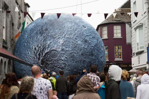 DARK SIDE OF THE MOON: Luke Jerram's Museum of the Moon, a touring artwork featuring detailed Nasa imagery of the lunar surface, on Shop Street, Galway, as part of Galway International Arts Festival. Photograph: Andrew Downes/Xposure