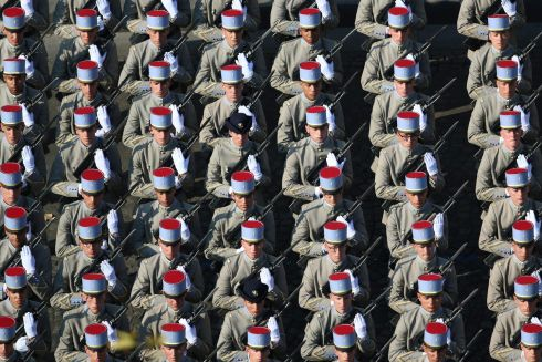 BASTILLE DAY: French soldiers of the 2nd Regiment de Dragons march during the annual Bastille Day military parade on the Champs-Elysees in Paris. Photograph: Zakaria Abdelkafi/AFP/Getty Images