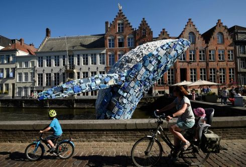 SOBERING SIGHT: A 12-metre installation depicting a whale and made of five tonnes of plastic waste pulled out of the Pacific Ocean is displayed in Bruges for the 2018 Bruges Triennial event in Belgium. Photograph: John Thys/AFP/Getty Images
