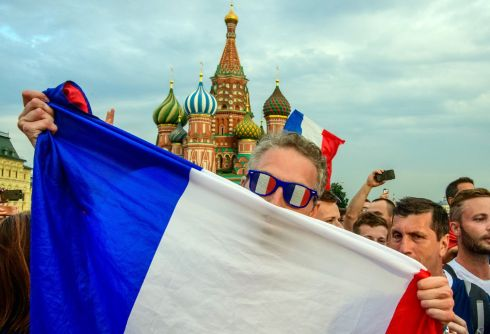 HIGH EXPECTATIONS: France fans gather at Red Square in Moscow on the eve of the Russia 2018 World Cup final football match between France and Croatia, which the French won. Photograph: Mladen Antonov/AFP/Getty Images