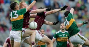 Kerry's David Clifford and Paul Geaney with Declan Kyne and Johnny Heaney of Galway all contesting a high ball. Photpgraph: Laszlo Geczo/Inpho
