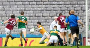 Galway's Patrick Sweeney fires home his side's goal against Kerry at Croke Park. Photograph: James Crombie/Inpho