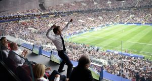 French president Emmanuel Macron reacts during the victory over Croatia in the World Cup Final in Moscow.  Photograph: Alexei Nikolsky/Reuters