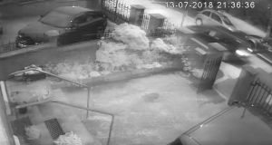 A video grab courtesy of An Phoblacht from CCTV footage of an attack on the home of former Sinn Féin president Gerry Adams. Photograph: PA