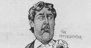 Wilde depicted  as a blackface interlocutor in The Illustrated Sporting and Dramatic News