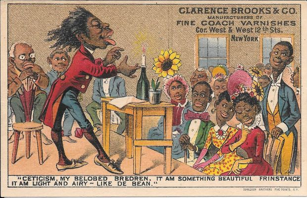 "African-American stereotype: Oscar Wilde was reduced to a collection of symbols – sunflowers, knee breeches and silk stockings – and characterised as ""Mr Wilde of Borneo"". Illustration: Michael Seeney Collection"