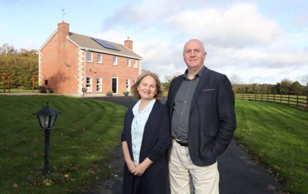 Aileen and Neil Walker outside their home in Ballyboughal, Co Dublin. Picture Jason Clarke Photo for renewable energy supplemen
