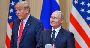 "US president Donald Trump and Russia's president Vladimir Putin: The damage from Mr Trump's ""naiveté, egotism, false equivalence and sympathy for autocrats is difficult to calculate"". Photograph: Yuri Kadobnov/AFP/Getty"