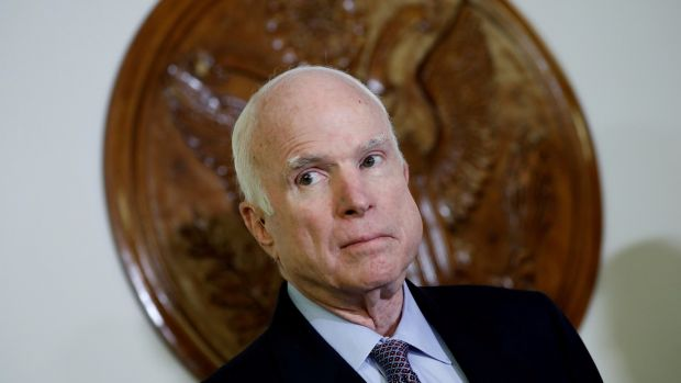 "Senator John McCain: ""The damage inflicted by President Trump's naivety, egotism, false equivalence and sympathy for autocrats is difficult to calculate."" Photograph: Aaron P Bernstein/File Photo/Reuters"