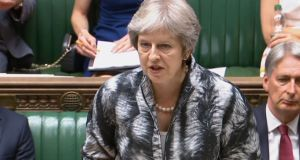 British prime minister Theresa May giving a statement on the 2018 Nato Brussels summit  in the House of Commons    on Monday. Photograph:  PA Wire